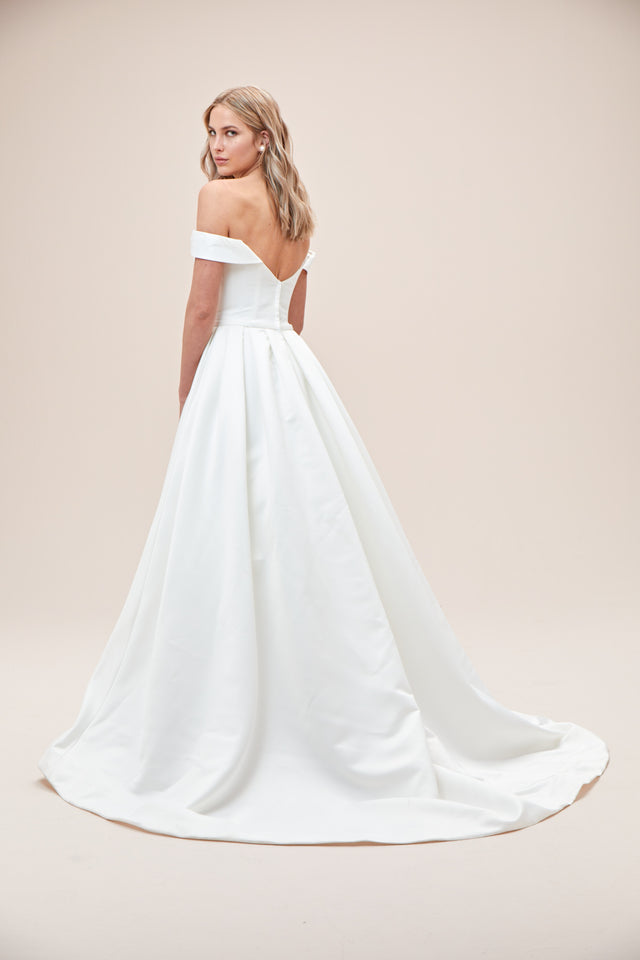 Off the Shoulder Satin Ball Gown Wedding Dress