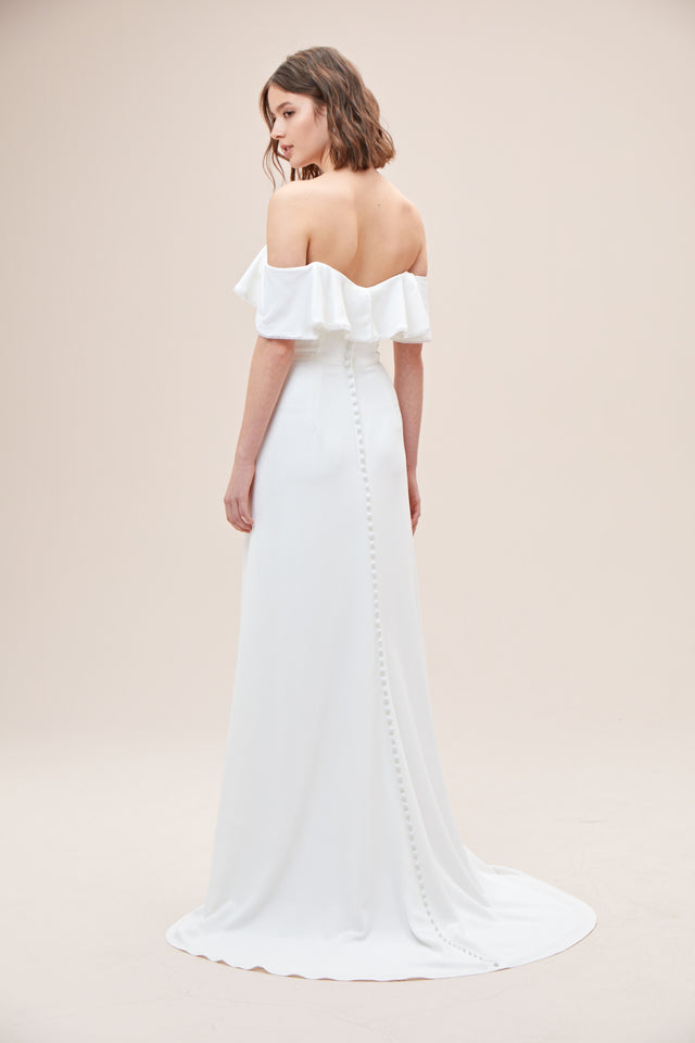 Pearl Trimmed Off-the-Shoulder Wedding Dress