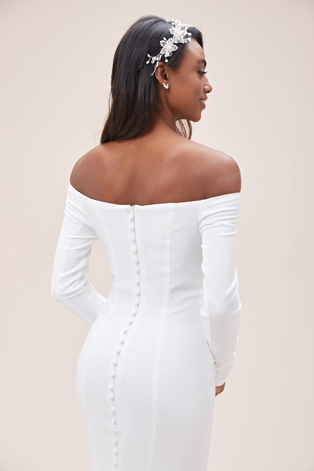 Off-the-Shoulder Buttoned Back Crepe Wedding Dress