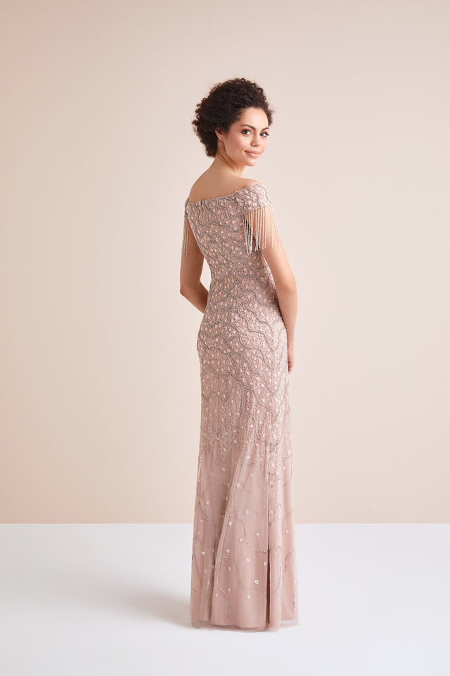 Off-the-shoulder Blush Formal Gown