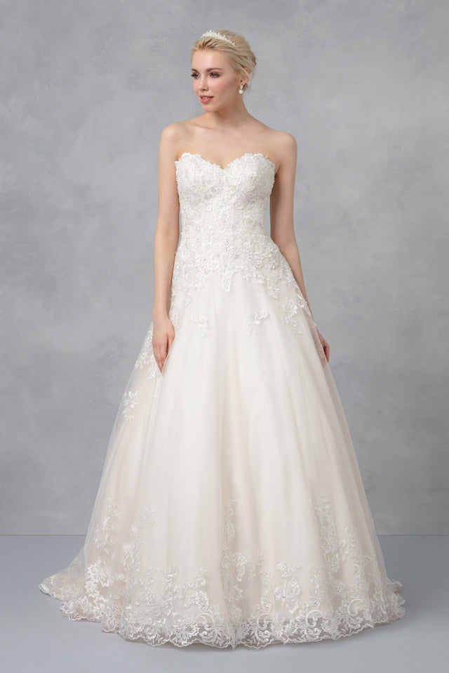 Petite Beaded Lace Tulle Ball Gown Wedding Dress