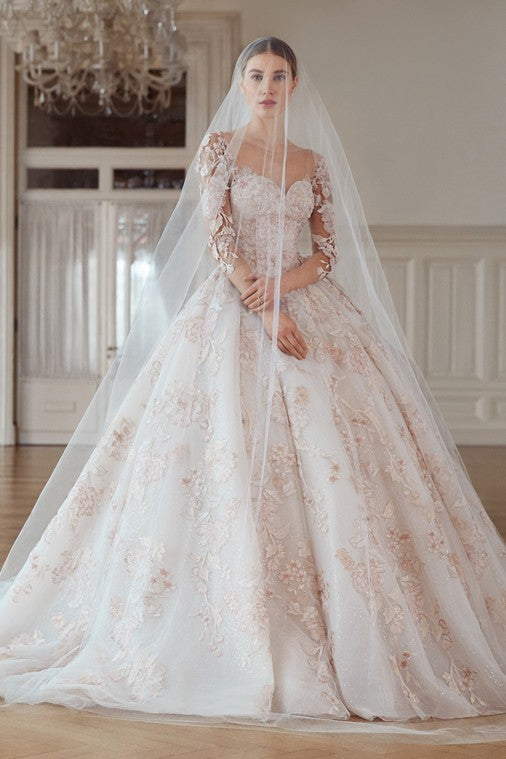 Ivory Tulle veil with Blush Floral Appliqué