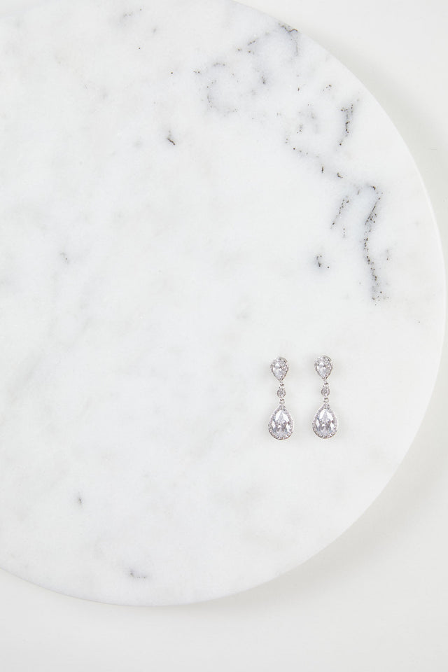 Cubic Zirconia Halo Teardrop Earrings