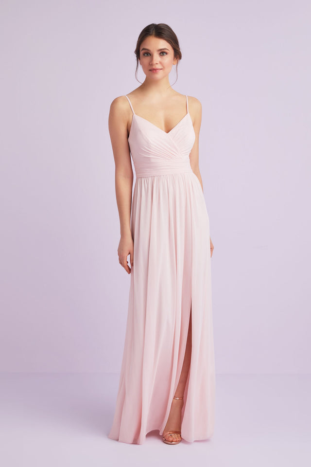 Spaghetti Strap Ruched Waist Mesh Bridesmaid Dress