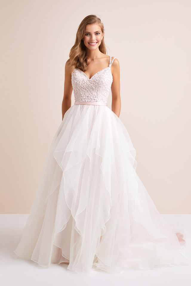 Garza Ball Gown Wedding Dress with Double Straps