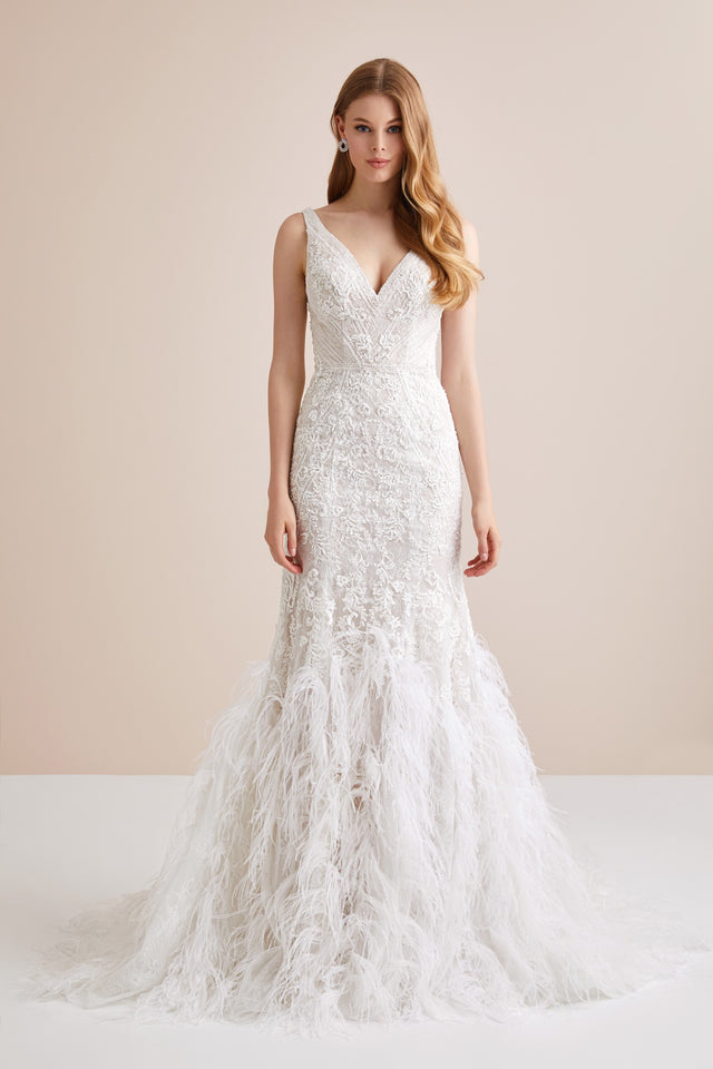 Lace Mermaid Wedding Dress with Feather Skirt