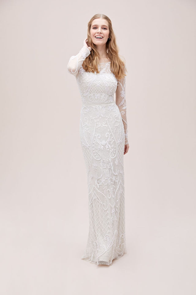 Allover Scroll Beaded Illusion Long Sleeve Gown