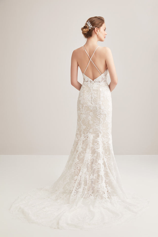 Plunging neckline fit flare all over lace gown