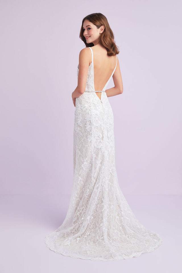 Sequin Lace Sheath Wedding Dress with Crystal Belt
