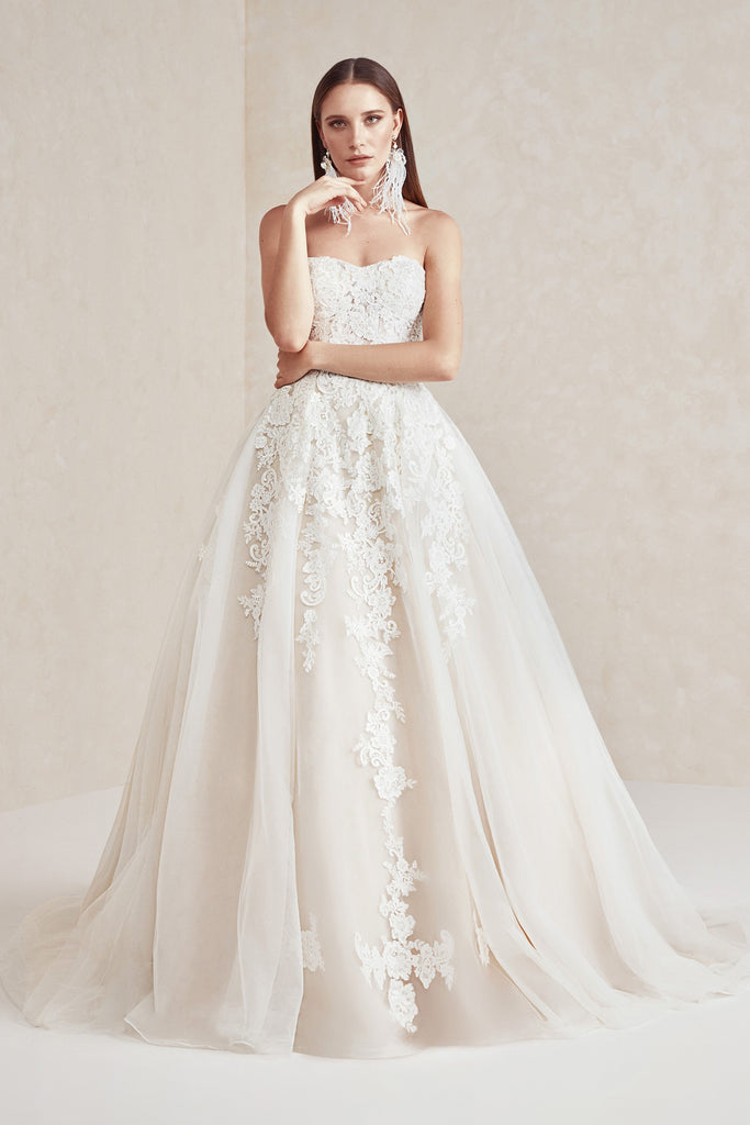 Buy Sheer Lace and Tulle Ball Gown Wedding Dress by Oleg