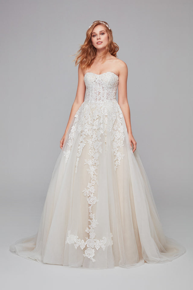 Sheer Lace and Tulle Ball Gown Petite Wedding Dress