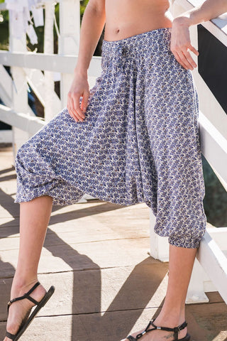 Aster Floral Harem Pants Below Knee-Soulfree Yoga