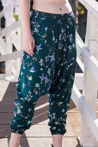 Jade Floral Harem Pants Ankle Length-Soulfree Yoga