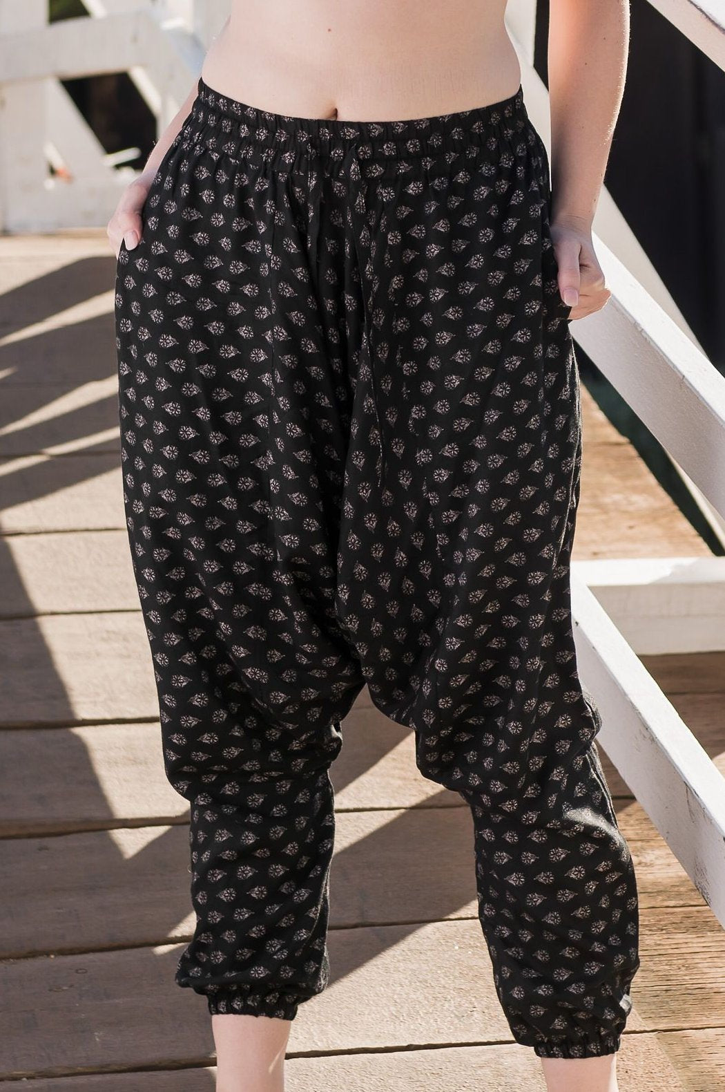 Nighttime Floral Harem Pants Ankle Length-Soulfree Yoga