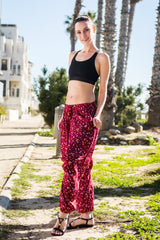 Rosewood Floral Harem Pants Ankle Length-Soulfree Yoga