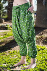 Floral Vines Harem Pants Ankle Length-Soulfree Yoga