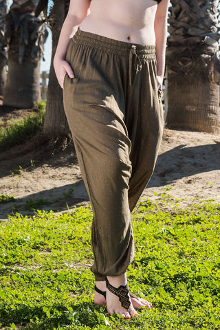 Mossy Dots Harem Pants Ankle Length-Soulfree Yoga