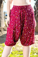 Rosewood Floral Harem Pants Below Knee-Soulfree Yoga