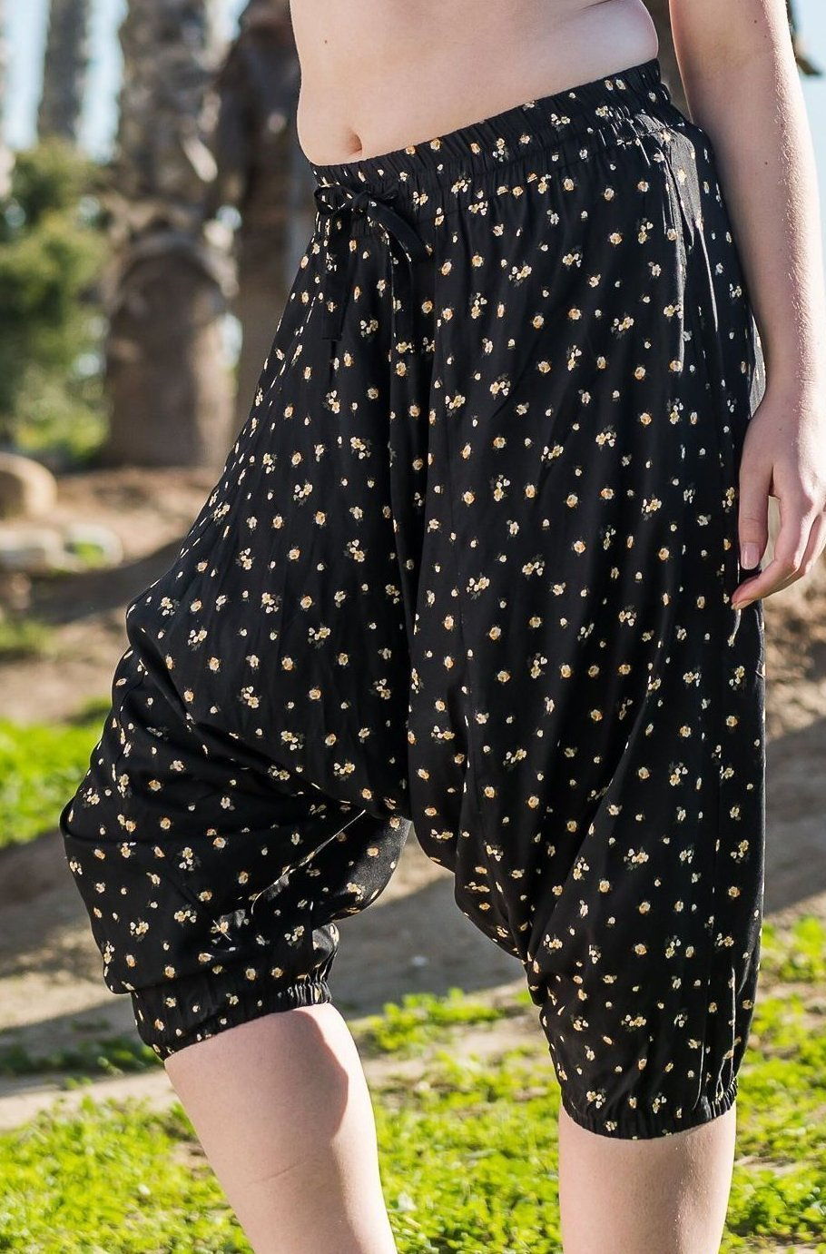 Night Lilies Harem Pants Below Knee-Soulfree Yoga