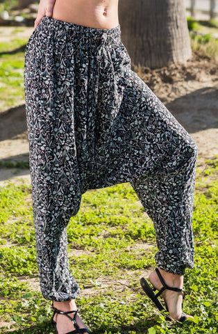 Midnight Floral Harem Pants Ankle Length