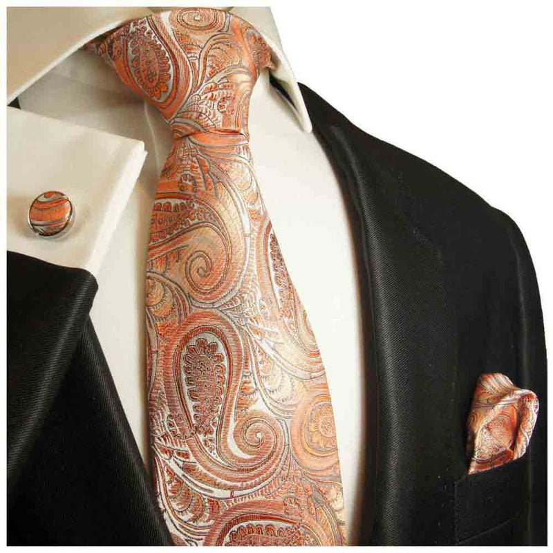 Krawatte orange grau paisley - Orange Herren Krawatte 100% Seide