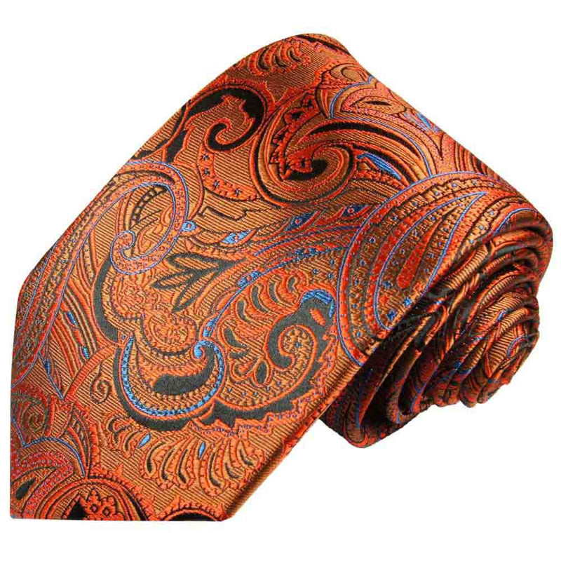 Krawatte orange blau paisley - Orange Herren Krawatte 100% Seide