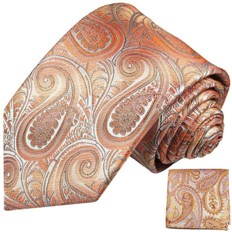 Krawatte orange gold rot paisley - Orange Herren Krawatte 100% Seide