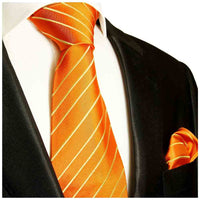 Krawatte orange gold gestreift - Orange Herren Krawatte 100% Seide