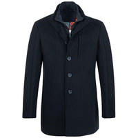 Moderner Herren Mantel navy blau  - Eleganter warmer Winter Wollmantel tailliert