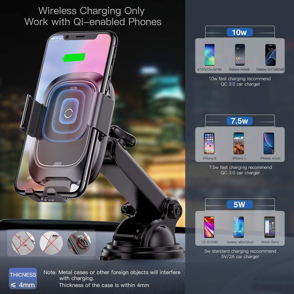 Premium Wireless Car Charger Mount Compatible IOS & Android QI