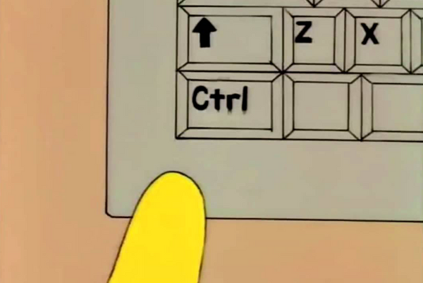 Homer Simpson's finger hovering over the Ctrl key.