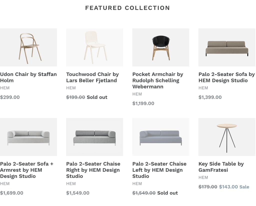 Screenshot of a listing of products from an online furniture shop. Each item features a thumbnail image along with the item title, vendor name, and price.