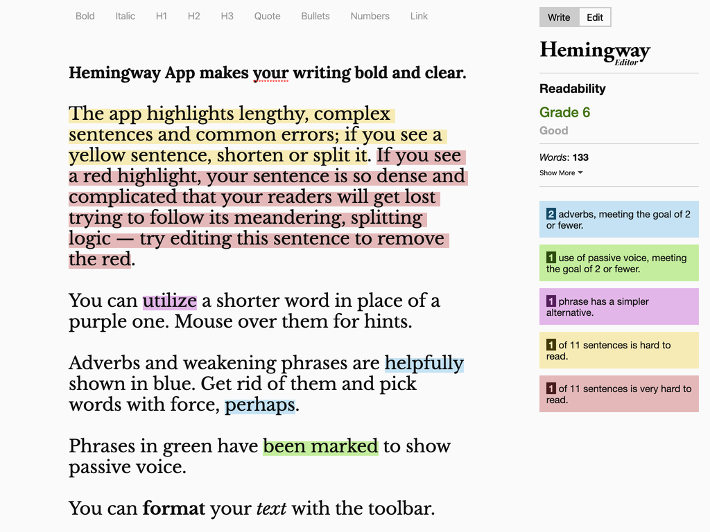 Default screen of the Hemingway Editor App which includes text with colorful highlights indicating issues with content.