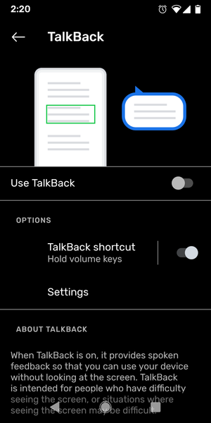 Screenshot of TalkBack settings in Android. Includes an illustration of a phone with a speech bubble and the main TalkBack switch control.