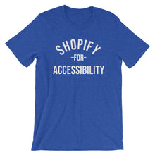 Load image into Gallery viewer, White Shopify for Accessibility words, center aligned, on front of heather blue t-shirt.