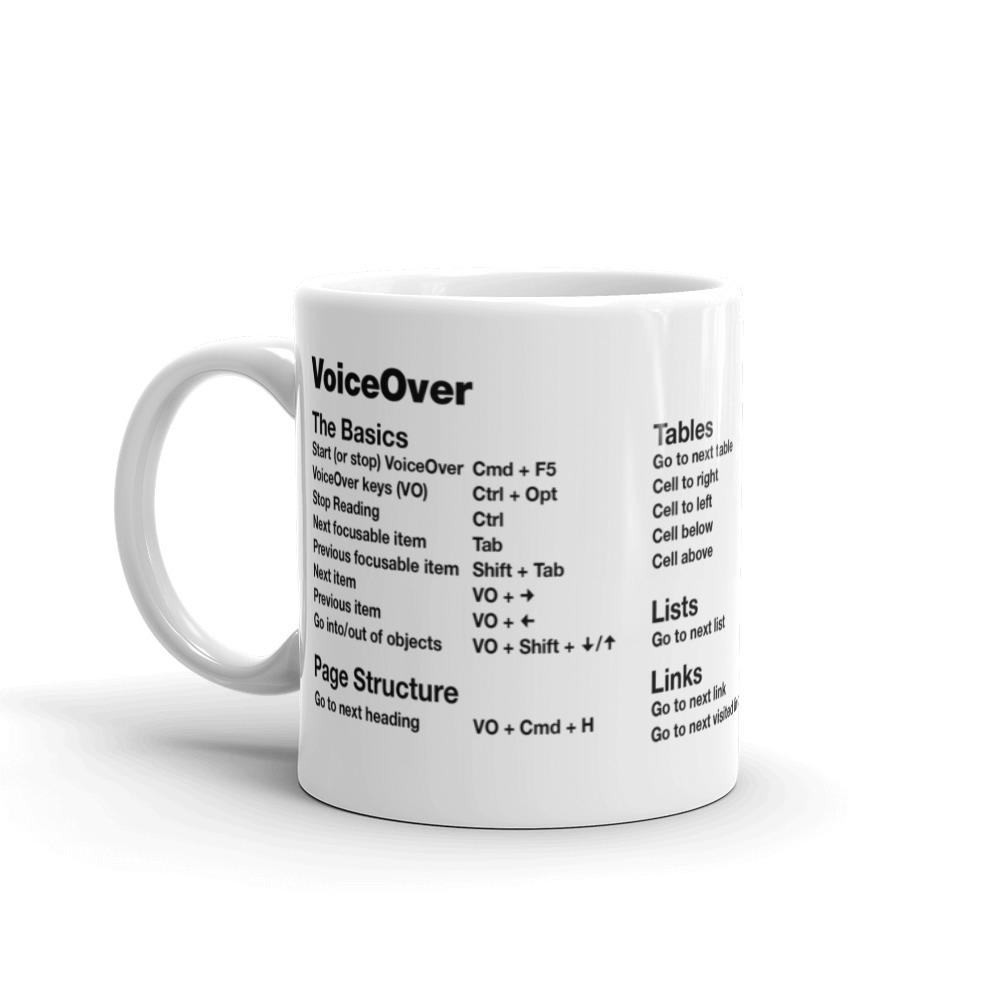 VoiceOver screen reader shortcut keys printed on white coffee mug. Left side features: The Basics and Page Structure.