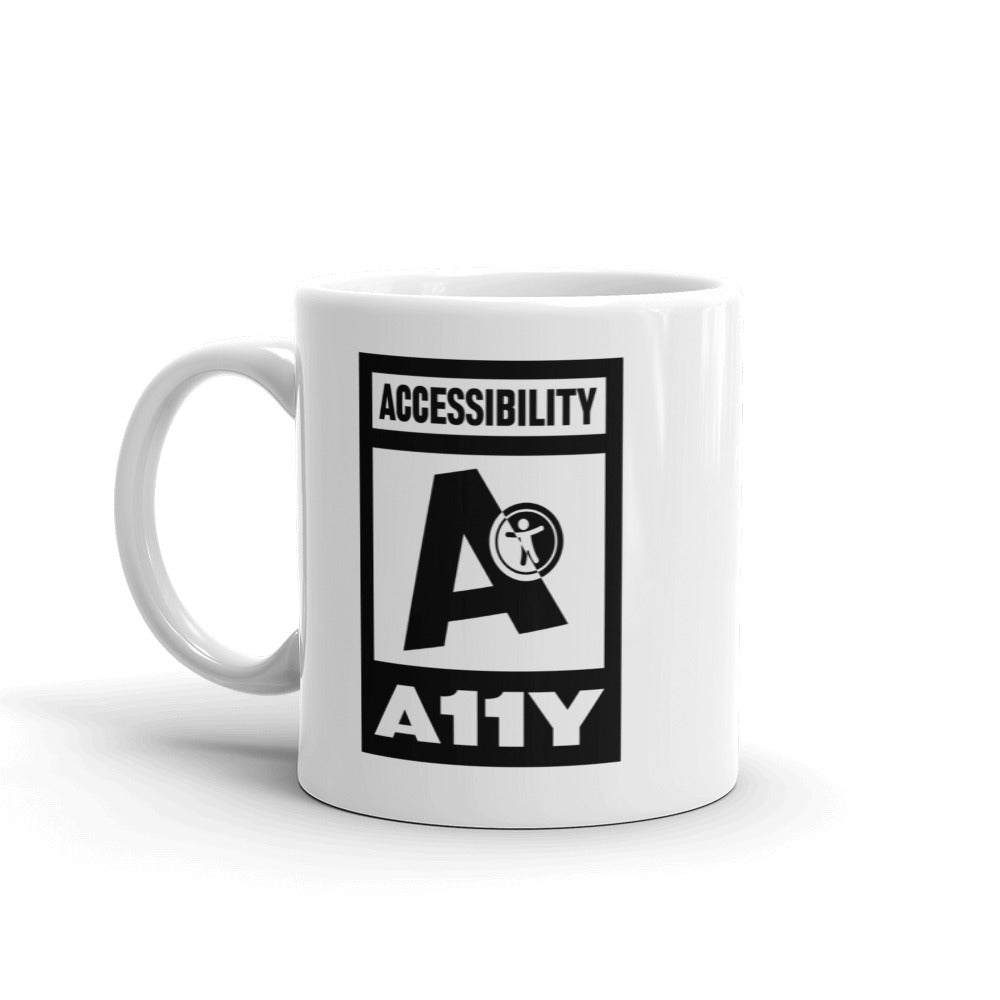 Black on white Accessibility word above large black letter A with universal design logo on white above white on black A11Y word, center aligned, on each side of a white mug.