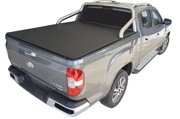 LDV T60 Mega (2019 Onwards) Dual Cab with Factory Sports Bars and an Over Rail Tub Liner ClipOn Tonneau Cover