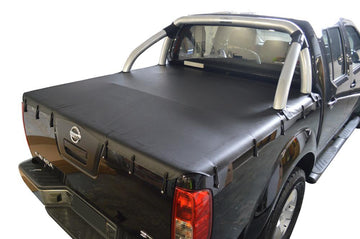 Nissan Navara D40 ST (Thai Built)(2009 to June 2015) Dual Cab with Factory Sports Bars Bunji Ute/Tonneau Cover