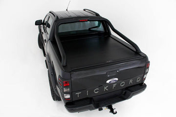 Ford Ranger/Raptor PXI, PXII, PXIII (Nov 2011 Onwards) Double Cab with Ford Genuine/Tickford Black/Polished Extended Sports Bars Roll R Cover