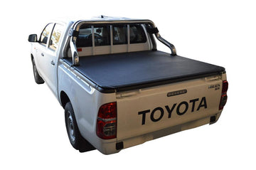Toyota Hilux J-Deck (Apr 2005 to Sept 2015) Double Cab with Factory Sports Bars, Headboard and Over Rail Tub Liner ClipOn Ute/Tonneau Cover