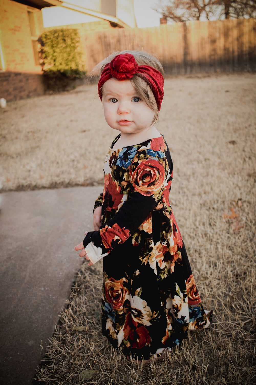 Black Fall Floral Maxi Dress