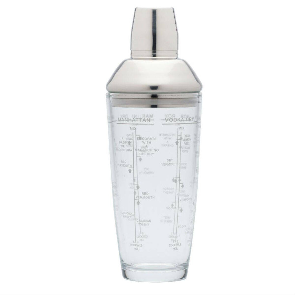 Impress your guests by serving delicious cocktails using this stylish Boston cocktail shaker with stainless steel cup, collar and lid and a contrasting glass base/Giftworks, Ennis&Galway