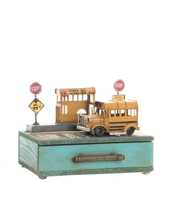 Yellow School Bus Trinket Box This gorgeous wooden trinket box has been decorated showing the iconic yellow bus stopped at a designated point to pick up and drop off children/Giftworks, Ennis&Galway