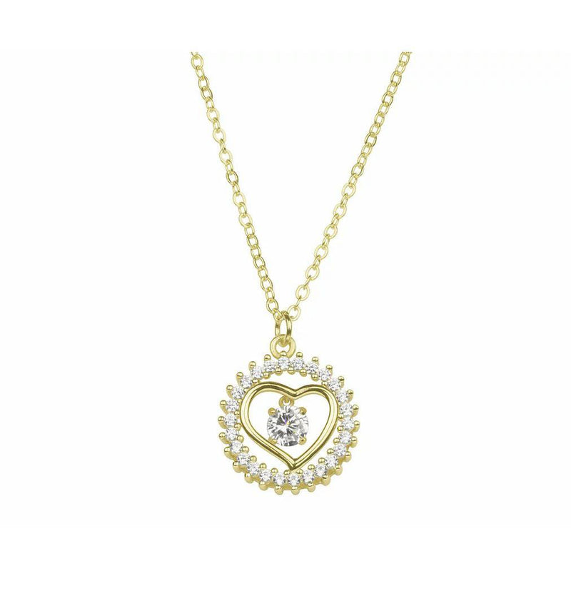 Gold ring heart necklace Jewellery For Her  (INEC4104) - Giftworks