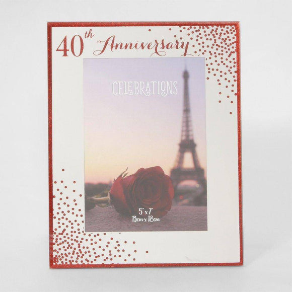 40th Anniversary Frame This wonderful freestanding frame makes the perfect gift for a special couple on their anniversary/Giftworks, Ennis&Galway