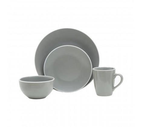 This grey and white, sixteen piece dinner set will create a simple and coordinated look on the dining table. A Dinner Set worth displaying/Giftworks, Ennis&Galway