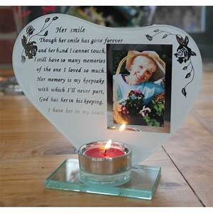 Keep the memories of your loved ones shining bright with this touching Her Smile poem and photo candle holder/Giftworks, Ennis&Galway
