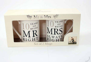 Make sure they never get their tea mixed up again! A beautiful 10th Anniversary gift pair of ceramic mugs from Amore. This set features '10 Years of Being Mr Right/Mrs Always Right' design with silver foil numbers and comes complete with luxury gift box.