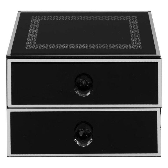 Hestia Glass Jewellery Box. A black glass jewellery box, with silver glitter geometric border detailing and two drawers/GiftworksStores, Ennis&Galway